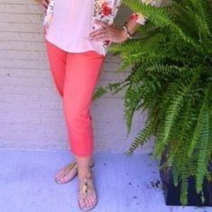 New Liz Claiborne cropped capri coral pants size 8